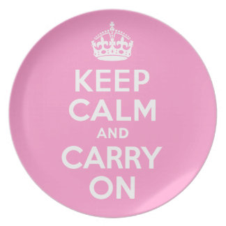 Keep Calm And Carry On Pink and White Best Price Melamine Plate
