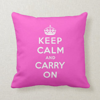 keep calm and carry on - pink and white throw pillow