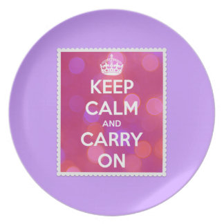 Keep Calm and Carry On Pink Bokeh Effect Party Plate
