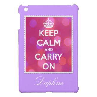 Keep Calm and Carry On Pink Bokeh iPad Mini Case