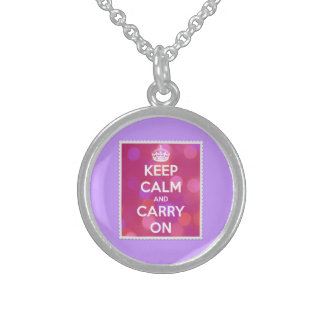 Keep Calm and Carry On Pink Bokeh Round Pendant Necklace