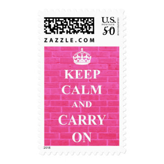 Keep Calm and Carry on Pink Brick Stamp