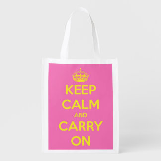 Keep Calm and Carry On Pink Bubblegum and Sunshine Reusable Grocery Bag
