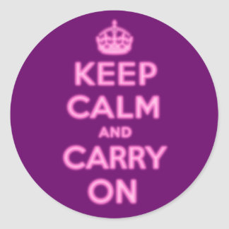 Keep Calm and Carry On, Pink Glow Classic Round Sticker