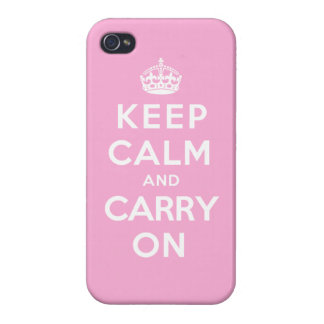 Keep Calm and Carry On - Pink iPhone 4/4S Cover