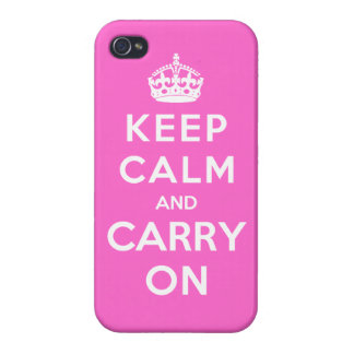 Keep Calm and Carry On Pink iPhone 4 Cover