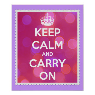 Keep Calm and Carry On Pink Lights Poster