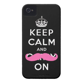 Keep Calm and Carry On Pink Moustache  iPhone Case iPhone 4 Cover