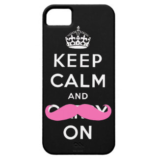 Keep Calm and Carry On Pink Moustache  iPhone Case