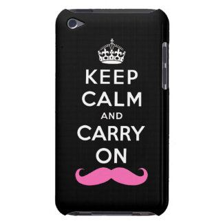 Keep Calm and Carry On Pink Mustache Barely There iPod Cover