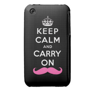 Keep Calm and Carry On Pink Mustache iPhone 3 Case-Mate Case