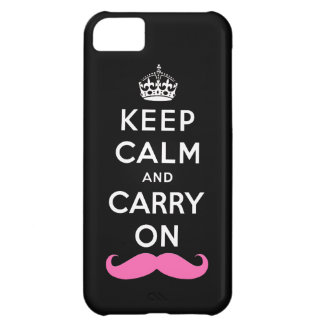 Keep Calm and Carry On Pink Mustache Case For iPhone 5C