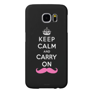 Keep Calm and Carry On Pink Mustache Samsung Galaxy S6 Cases