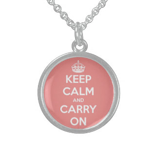 Keep Calm and Carry On Pink Round Pendant Necklace