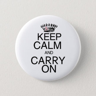 Keep Calm and Carry On Pink Ribbon Button