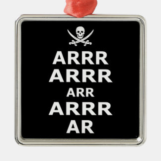 Keep Calm And Carry On Pirate Style Square Metal Christmas Ornament