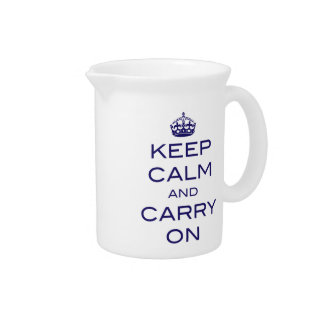 Keep Calm and Carry On Pitcher - Navy Blue