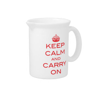 Keep Calm and Carry On Pitcher - Red