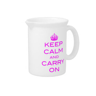 Keep Calm and Carry On Pitcher - Violet