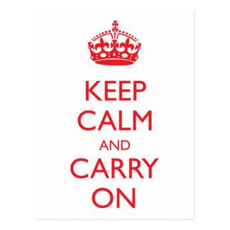 Keep Calm and Carry On Postcard