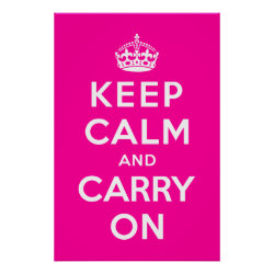 Matte Poster with Keep Calm and Carry On (Magenta) design