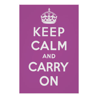 Keep Calm and Carry On Poster - Purple