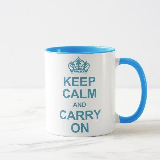 Keep calm and carry on - powder blue mug
