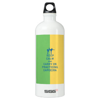 Keep Calm and Carry On Practicing Capoeira Aluminum Water Bottle