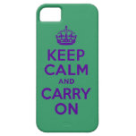 Keep Calm And Carry On Purple and Green iPhone 5 Cover