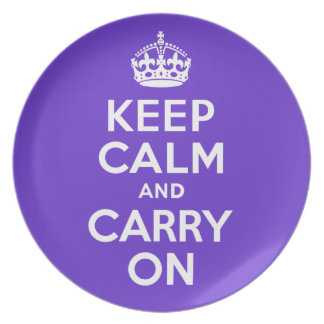 Keep Calm And Carry On Purple and White Best Price Dinner Plate