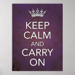 Keep Calm and Carry On Purple Grunge Print
