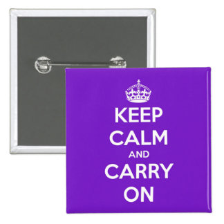 Keep Calm and Carry On Purple Pinback Button