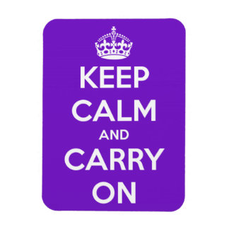 Keep Calm and Carry On Purple Rectangle Magnet