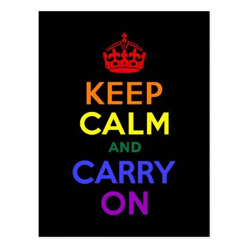 Keep Calm and Carry On Rainbow Postcards