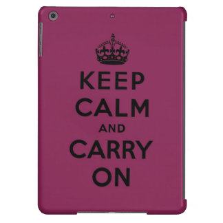 keep calm and carry on -  Raspberry pink and black Case For iPad Air