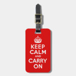Keep Calm And Carry On Red And White Bag Tags