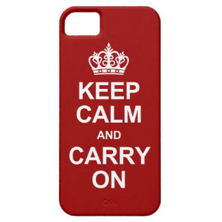 Keep Calm and Carry On - Red and White iPhone SE/5/5s Case