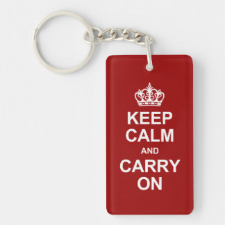 Keep calm and carry on - red and white rectangular acrylic keychains