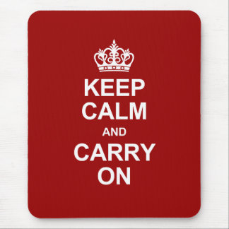 Keep calm and carry on - red and white mouse pad