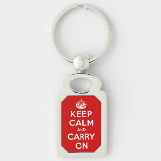 keep calm and carry on - red and white Silver-Colored rectangular metal keychain