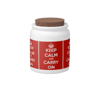 Keep Calm and Carry On Red Candy Treat Jar Candy Dish