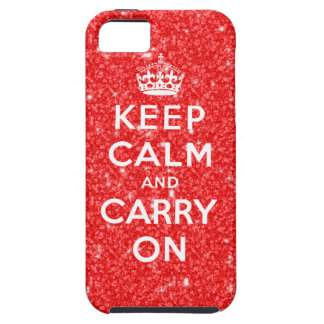 Keep Calm and Carry On | RED GLITTER PRINTED iPhone SE/5/5s Case
