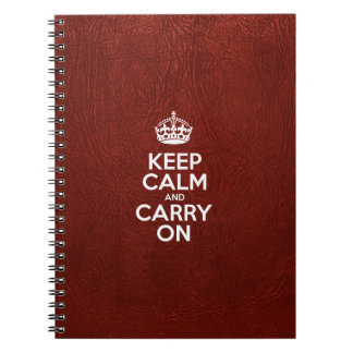 Keep Calm and Carry On - Red Leather Notebook