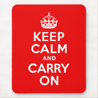Keep Calm and Carry On Red Mouse Pads