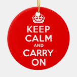 Keep Calm and Carry On Red Double-Sided Ceramic Round Christmas Ornament