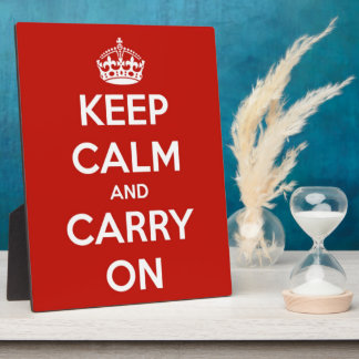 Keep Calm and Carry On Red Plaque with Easel
