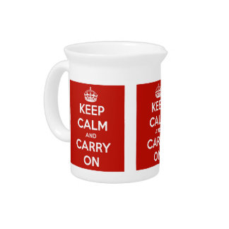 Keep Calm and Carry On Red Porcelain Pitcher