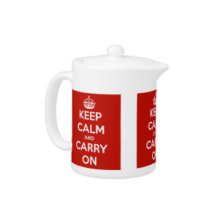 Keep Calm and Carry On Red Porcelain Teapot