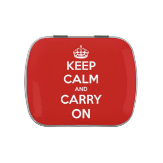 Keep Calm and Carry On Red Refillable Tin Candy Tins