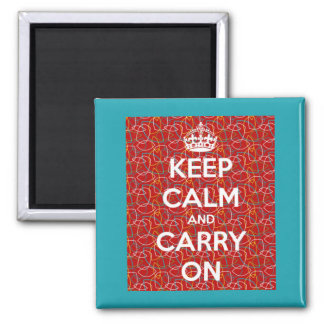 Keep Calm and Carry On Red Retro Square Magnet